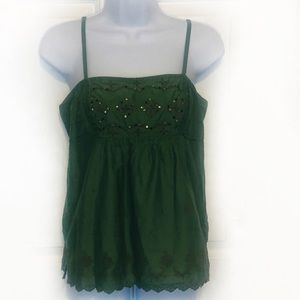 American Eagle Embroidered Olive Green Tank